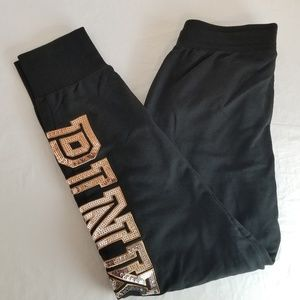 PINK Victoria's Secret Sequin Bling Black Joggers